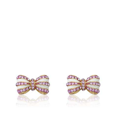 Molly Glitz 14k Goldplated Pink Crystals and White Enamel Stripes Bow Earrings