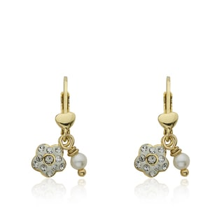 Molly Glitz 14k Goldplated Crystal Flower Fresh Water Pearl Dangle Leverback Earrings
