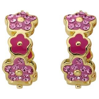 Molly Glitz 14k Gold Overlay Flowery Glitz Earrings