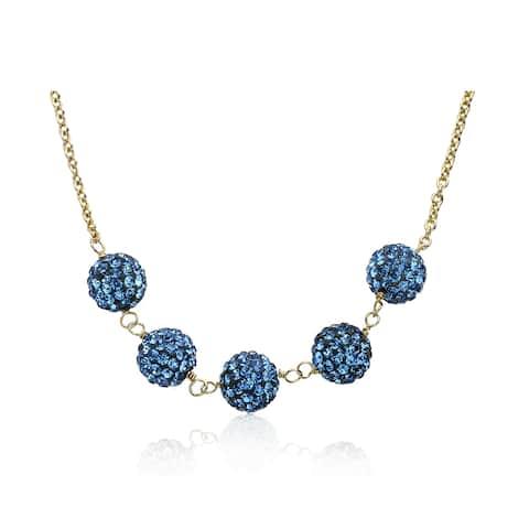 Molly Glitz Glitz Blitz 14k Goldplated 5 Crystal Ball Chain Necklace