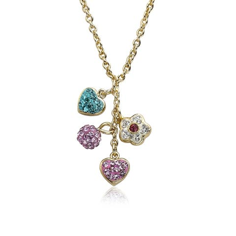 Molly Glitz Heart Of Jewels 14k Goldplated Multicolor Crystal Hearts Flower Cluster Chain Necklace