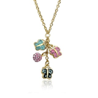 Molly Glitz Shine Bright 14k Goldplated Multicolor Crystal Butterflies Cluster Chain Necklace
