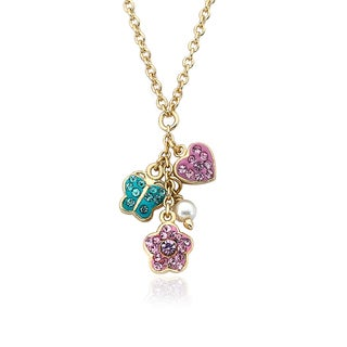 Molly Glitz Flowery Glitz 14k Goldplated Multicolor Crystal Heart/ Butterfly Flower Cluster Chain Necklace