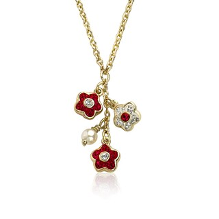 Molly Glitz Flowery Glitz 14k Goldplated Red White Crystal Flowers Fresh Water Pearl Cluster Chain Necklace
