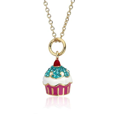 Molly Glitz Sparkle Sweet 14k Goldplated Crystal Cherry Top Cupcake Pendant Necklace