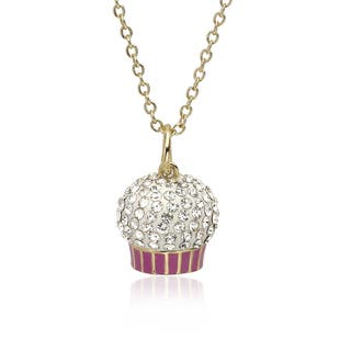Molly Glitz Sparkle Sweet 14k Goldplated Crystal Top Cupcake Pendant Necklace|https://ak1.ostkcdn.com/images/products/10610101/P17681564.jpg?impolicy=medium