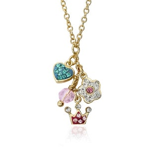 Molly Glitz Pretty Princess 14k Goldplated Necklace Accented and Multi Crystal Charm Cluster