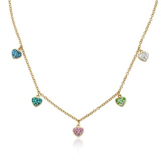 Molly Glitz Heart Of Jewels 14k Goldplated Multicolor Crystal Hearts Dangle Necklace