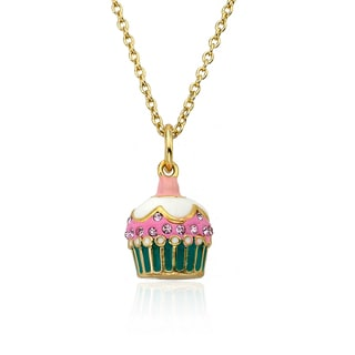 Molly Glitz Sparkle Sweet 14k Goldplated Pink Crystal Enamel Cupcake Pendant Necklace