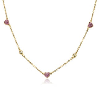 Molly Glitz Heart Of Jewels 14k Goldplated Pink Crystal Hearts Bezel Chain Necklace