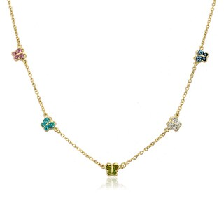 Molly Glitz Shine Bright 14k Goldplated Multicolor Crystal Butterflies Chain Necklace