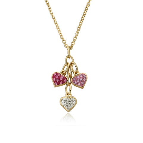 Molly Glitz Heart Of Jewels 14k Goldplated Pink/ White Hot Pink Crystal Heart Cluster Chain Necklace