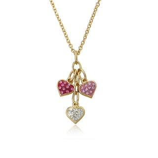 Molly Glitz Heart Of Jewels 14k Goldplated Pink/ White Hot Pink Crystal Heart Cluster Chain Necklace|https://ak1.ostkcdn.com/images/products/10610110/P17681572.jpg?impolicy=medium