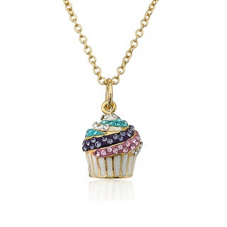 Molly Glitz Sparkle Sweet 14k Goldplated Crystal Top Multi Swirl Cupcake Necklace