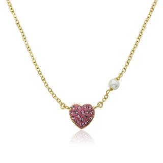 Molly Glitz Heart Of Jewels 14k Goldplated and Crystal Heart Fresh Water Pearl Chain Necklace