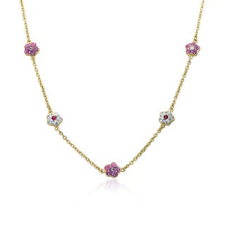 Molly Glitz Flowery Glitz 14k Goldplated Alternating Pink and White Crystal Flower Chain Necklace