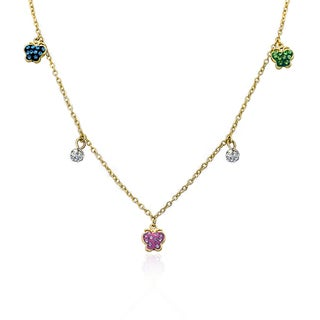Molly Glitz Shine Bright 14k Goldplated Multicolor Butterflies Crystal Balls Dangle Charm Necklace