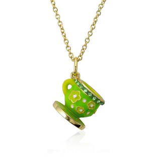 Molly Glitz Tea For Two 14k Goldplated Lime Enamel Flowers On Green Crystal Trimmed Tea Cup Pendant Necklace