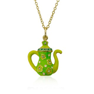 Molly Glitz Tea For Two 14k Goldplated Lime Enamel Flowers On Green Crystal Trimmed Tea Pot Pendant Necklace