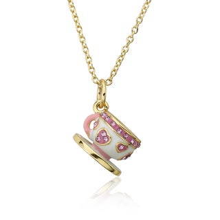 Molly Glitz 'Tea for Two' 14k Goldplated Enamel Crystal Hearts Tea Cup Pendant Necklace