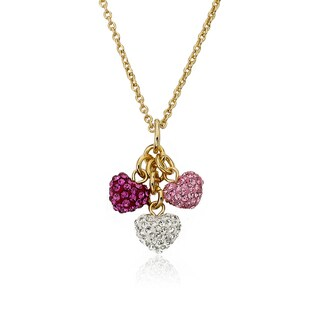 Molly Glitz Tea For Two 14k Goldplated Lavender Enamel Hearts On Purple Crystal Trimmed Tea Cup Pendant Necklace