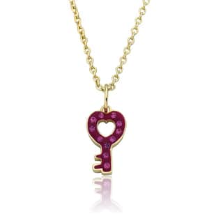 Molly Glitz Heart Of Jewels 14k Goldplated Pink/ White Hot Pink Heart Cluster Chain Necklace|https://ak1.ostkcdn.com/images/products/10610124/P17681584.jpg?impolicy=medium