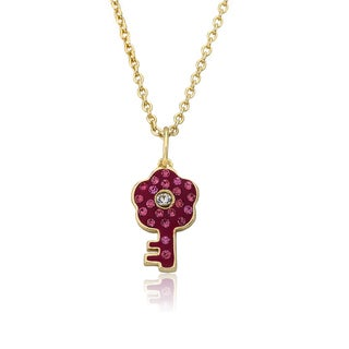 Molly Glitz Heart Of Jewels 14k Goldplated Hot Pink Crystal Key Pendant Chain Necklace