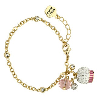 Molly Glitz 14k Goldplated Crystal Cupcake Cluster Bracelet