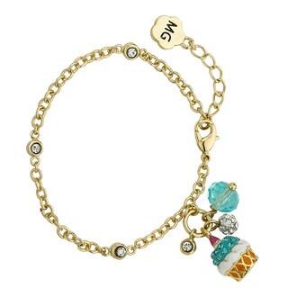 Molly Glitz 14k Goldplated Aqua Crystal Cupcake Cluster Bracelet