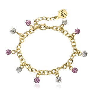 Molly Glitz 14k Goldplated Mini Crystal Balls Bracelet