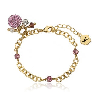 Molly Glitz 14k Goldplated Pink Crystal Balls Charm Bracelet