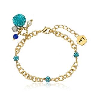 Molly Glitz 14k Goldplated Aqua Crystal Balls Charm Bracelet