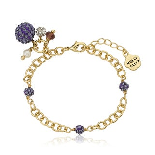 Molly Glitz 14k Goldplated Purple Crystal Balls Charm Bracelet
