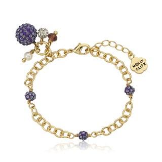 Molly Glitz 14k Goldplated Purple Crystal Balls Charm Bracelet