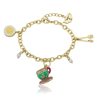 Molly Glitz 14k Goldplated Mint Green Tea Cup Bracelet