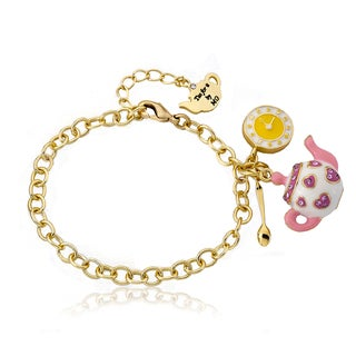 Molly Glitz 14k Goldplated White Tea Time Charm Bracelet