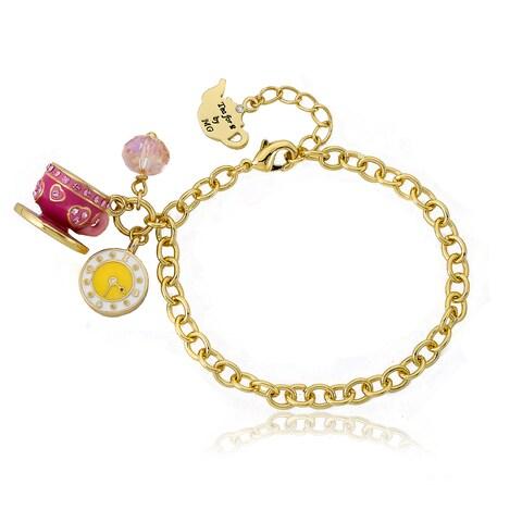 Molly Glitz 14k Goldplated Pink Tea Time Charm Bracelet