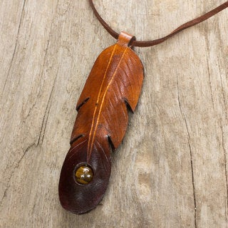 Handcrafted Leather 'Feather Spirit' Tiger's Eye Necklace (Thailand)