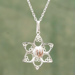 Handmade Sterling Silver 'Quechua Star' Filigree Necklace (Peru)
