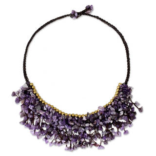 Handcrafted Brass 'Dance Party' Amethyst Necklace (Thailand)