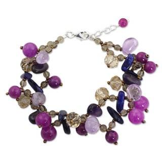 Silver Accent 'Twilight Symphony' Multi-gemstone Bracelet (Thailand)