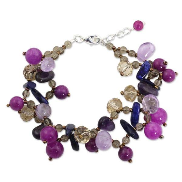 Silver Accent 'Twilight Symphony' Multi-gemstone Bracelet (Thailand). Opens flyout.
