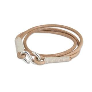 Handmade Leather 'Slender Fawn' Bracelet (Thailand)