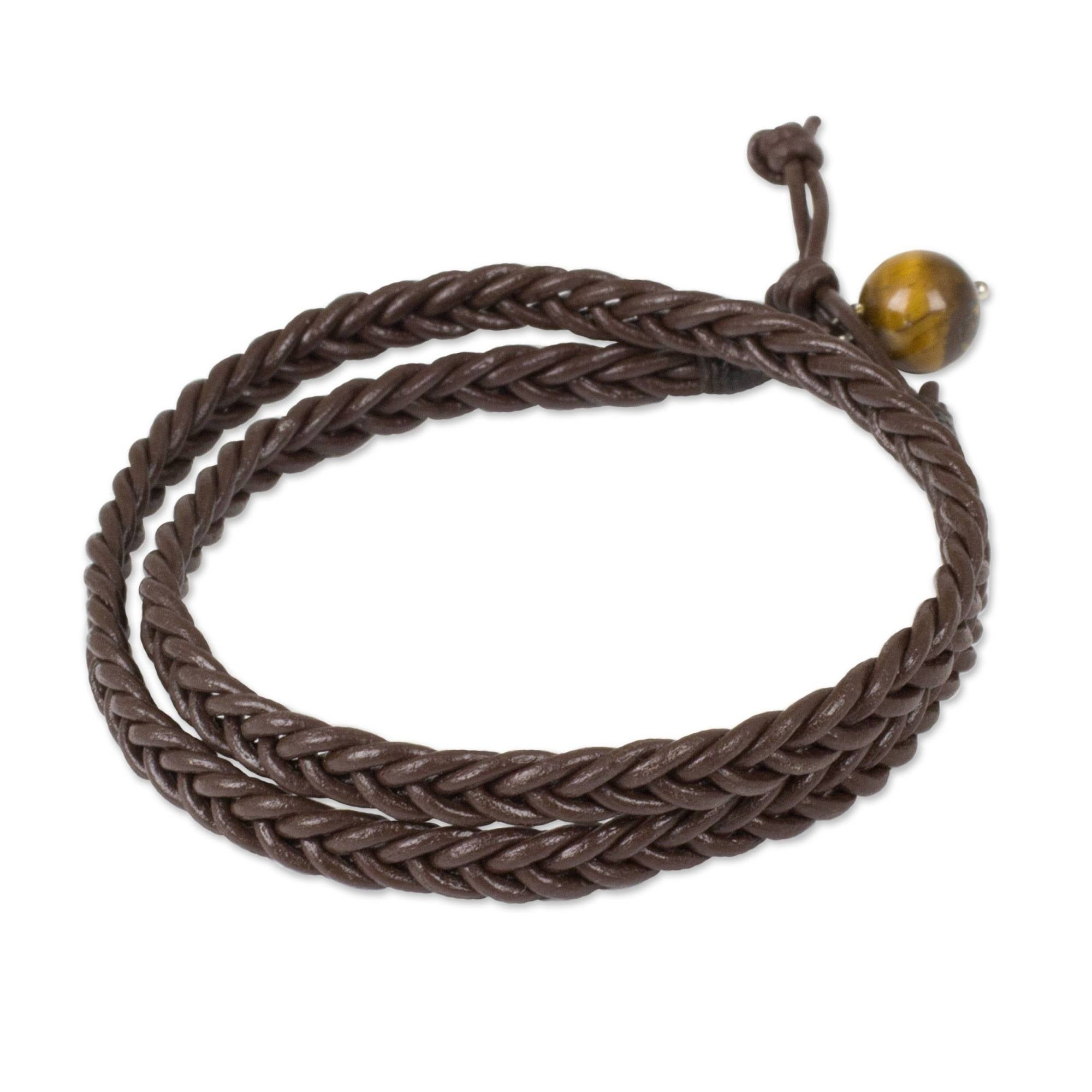 Plaited Black Leather Strap Bracelet Wristband Wraps Around The Wrist Twice Gift
