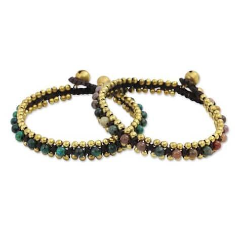 Handmade Set of 2 Brass 'Happy Times' Serpentine Agate Bracelets (Thailand)