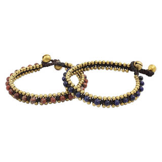 Handcrafted Brass Happy Times Lapis Lazuli Jasper Beaded Bracelets (Set of 2)(Thailand)