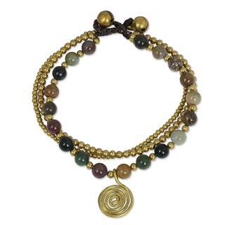 Handmade Brass 'Harmonious Blend' Jasper Bracelet (Thailand)