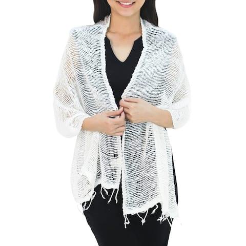 NOVICA Handmade Cotton scarf Breezy White (Thailand)
