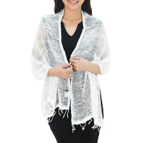 Handmade Cotton scarf Breezy White (Thailand)