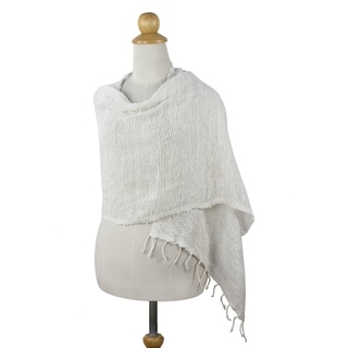 Handcrafted Cotton 'Breezy White' Shawl (Thailand)